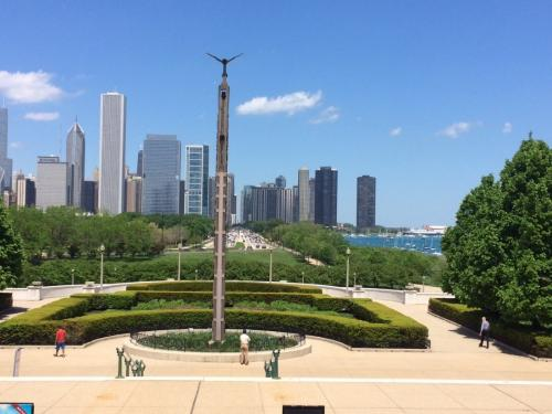 View of Chicago skyline from the Field Museum