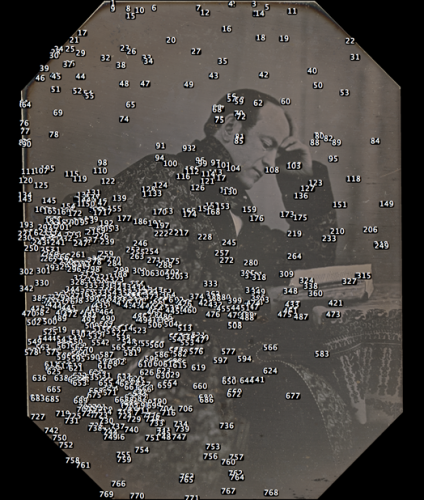 The numbers represent regions of interest automatically identified for analysis by size and brightness before and after exhibition