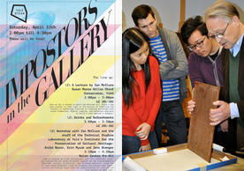 Ian McClure, right, examines the thin panel support of a painting with students