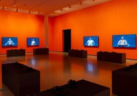 "Installation view of ""Candice Breitz: Too Long, Didn't Read"" at The Baltimore Museum of Art, March 2020. Photo by Mitro Hood. Courtesy of The Baltimore Museum of Art."