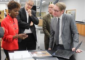 Photo (from Left): Dithny Joan Raton, Minister of Culture, Haiti; Stefan Simon, IPCH Director; Mark Aronson, chief conservator at the Yale Center for British Art (YCBA); Matthew Cushman, IPCH Conservator. Photo credit: Ifeanyi Awachie