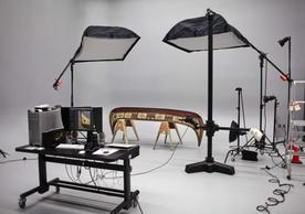 Yami canoe being photographed in the Digitization Lab of IPCH. Photo credit: Yale University Art Gallery