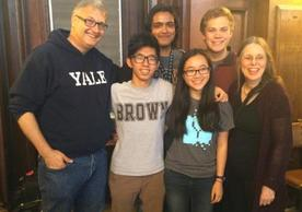 Fable team members Edward Jiao, Cole Hansen, Bessie Jiang, and Ishaan Agarwal, flanked by Stefan Simon and Holly Rushmeier
