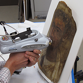 Analysis of Fayum portrait using a portable XRF. J.P. Getty Museum collection.
